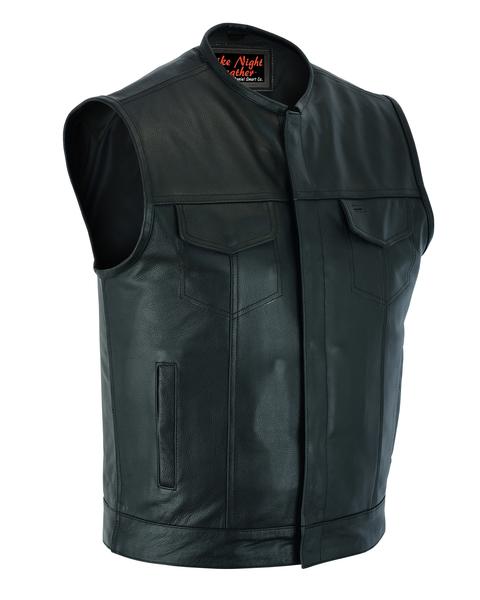 Men's Biker Vest | Concealed Snap Closure And No Collar