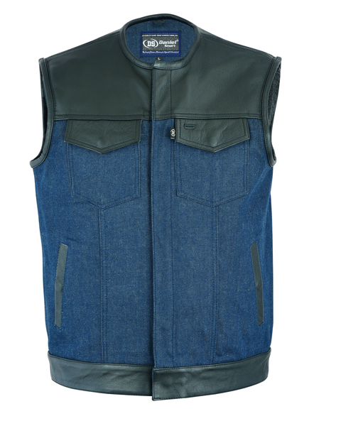 DM933 Men's Leather/Denim Combo Vest (Black/Broken Blue) | Men's Denim Vests