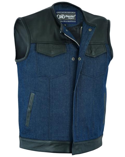 DM933 Men's Leather/Denim Combo Vest (Black/Broken Blue)   Men's Denim Vests