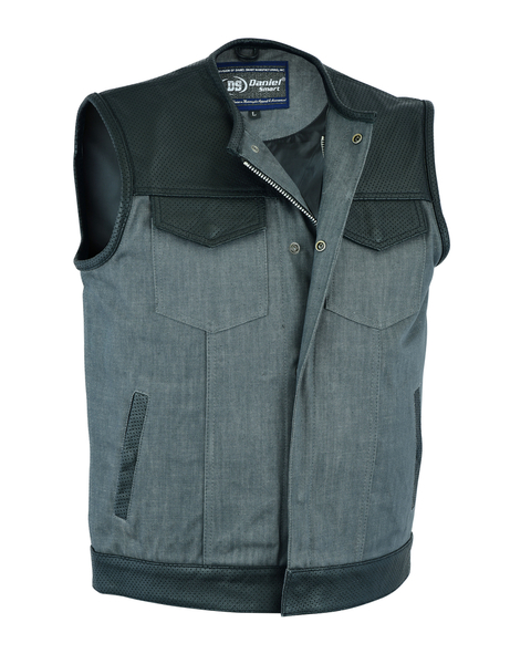 DM934 Men's Perforated Leather/Denim Combo Vest (Black/ Ash Gray) | Men's Denim Vests