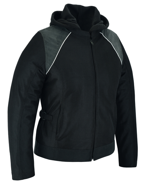 DS867 Women's Mesh 3-in-1 Riding Jacket (Black/Black Tone Reflective) | Women's Textile Jackets