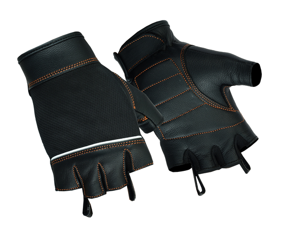 Wholesale Leather Gloves   DS2429 Women's Fingerless Glove with Orange Stitching Details