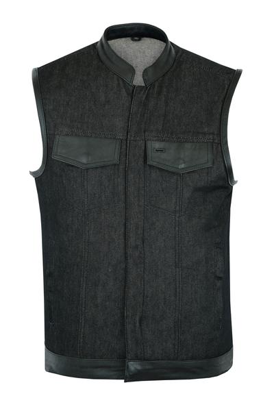 DM962 Men's Rough Rub-Off Raw Finish Denim Vest W/Leather Trim - Scoop Collar | Men's Denim Vests