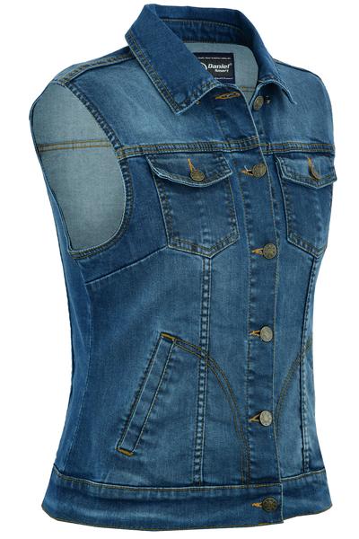 DM943  Women's Blue Denim Snap Front Vest   Women's Denim Vests