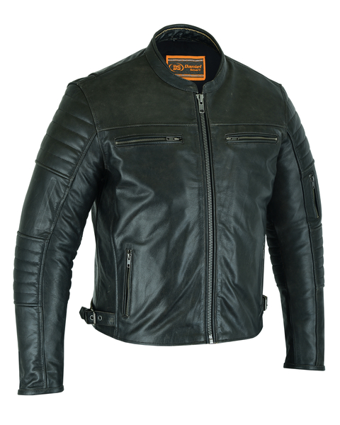 DS754 Men's Modern Crossover Scooter Jacket - Gun Metal Brown | Men's Leather Jackets