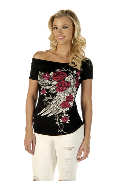 7642BLK Blossomed Elegance | Women's Shirts