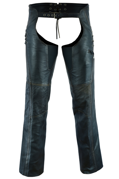 DS490 Women's Stylish Lightweight Hip Set Chaps in Lightweight Drum Dyed Distres | Chaps