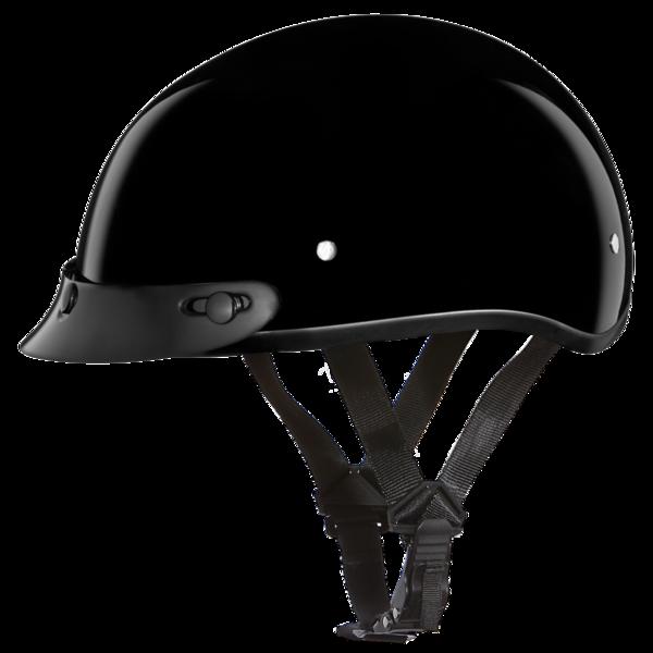 D1-A D.O.T. DAYTONA SKULL CAP- HI-GLOSS BLACK | 1/2 Shell Helmets