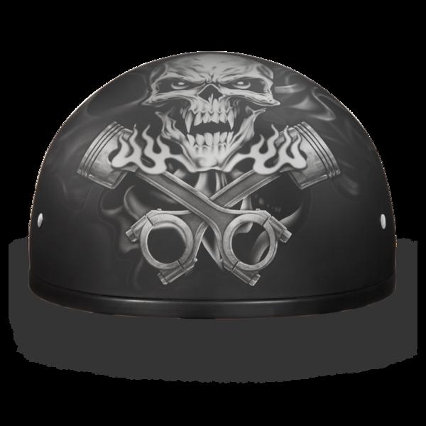 D6-PS D.O.T. DAYTONA SKULL CAP - W/ PISTONS SKULL | 1/2 Shell Helmets