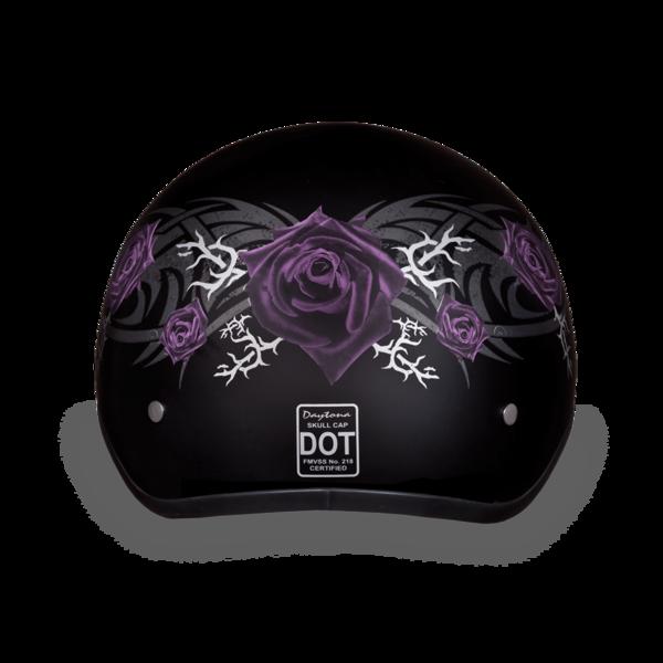 D6-PR D.O.T. DAYTONA SKULL CAP - W/ PURPLE ROSE | 1/2 Shell Helmets