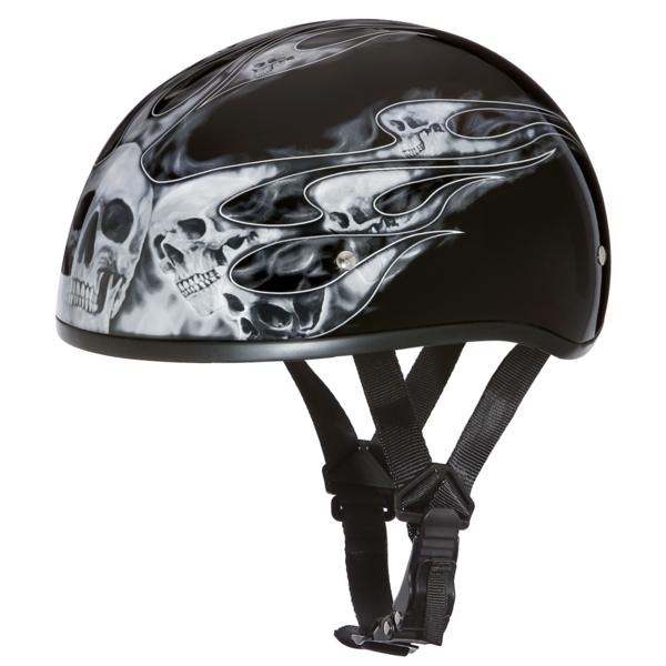 D6-SFS D.O.T. DAYTONA SKULL CAP - W/ SKULL FLAMES SILVER | 1/2 Shell Helmets