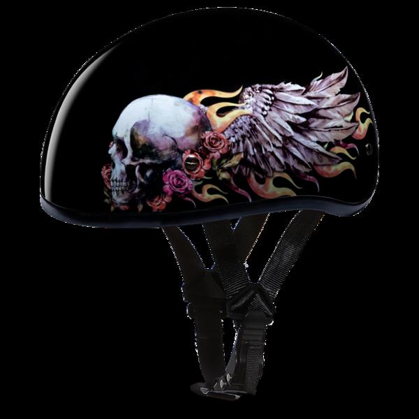 D6-SKW D.O.T. DAYTONA SKULL CAP - W/ SKULL WINGS | 1/2 Shell Helmets