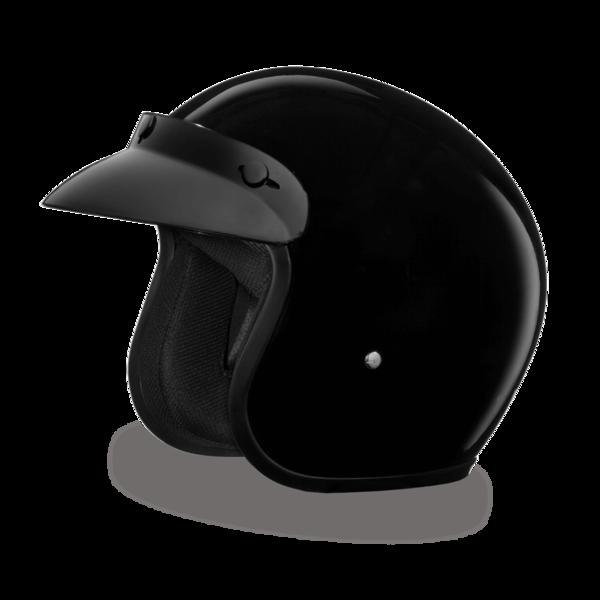DC1-A D.O.T. DAYTONA CRUISER - HI-GLOSS BLACK | 3/4 Shell Helmets