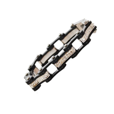 VJ1117 Black/Black W/White Crystal Centers | Bracelets