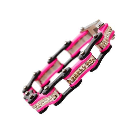 VJ1119 Two Tone Black/Pink W/White Crystal Centers | Bracelets