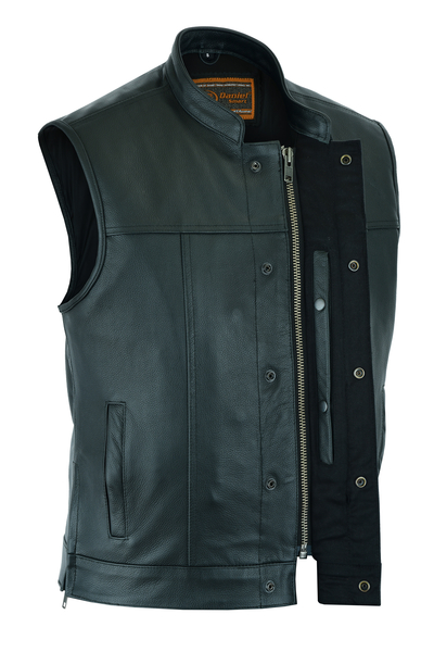 Men's Double Crossover Biker Black Leather Vest With Snaps