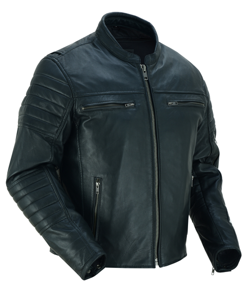 DS757 Men's Lightweight Drum Dryed Naked Lambskin Crossover Scooter Jacket | Men's Leather Jackets