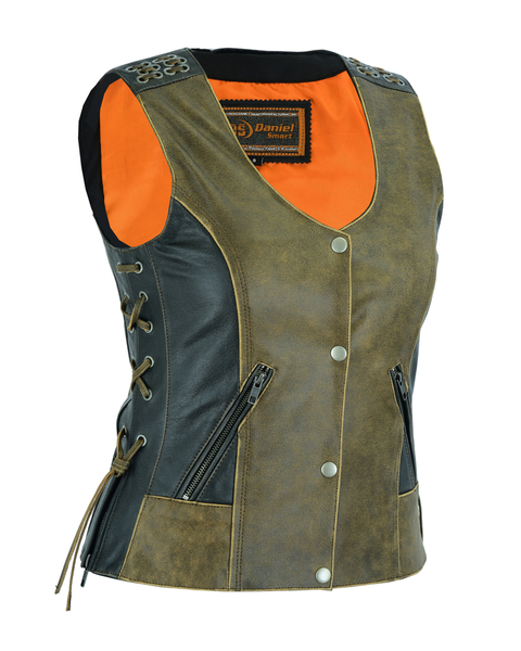 DS298 Women's Vest with Grommet and Lacing Accents – Two Tone | Women's Leather Vests