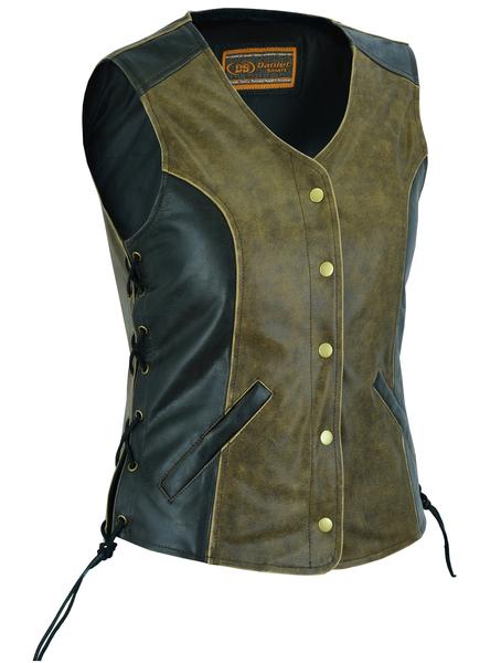 DS214  Women's Stylish Longer Body ¾ Vest – Side Laces – Two Tone | Women's Leather Vests