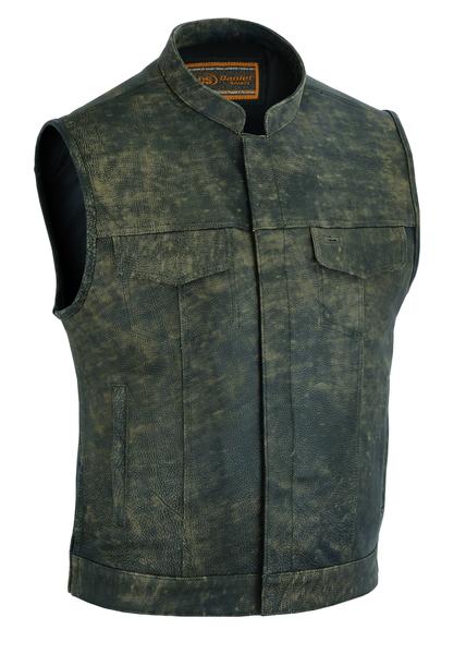 Men's Antique Brown Conceal Carry Biker Vest With Snaps