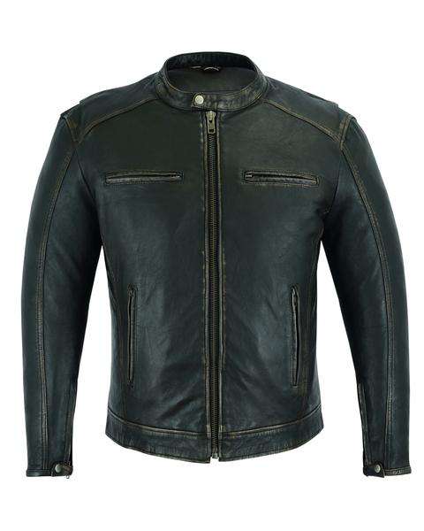 DS743 Men's Cruiser Jacket in Lightweight Drum Dyed Distressed Naked Lambskin | Men's Jackets