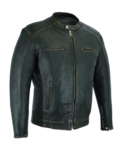 DS743 Men's Cruiser Jacket in Lightweight Drum Dyed Distressed Naked Lambskin | Men's Leather Jackets