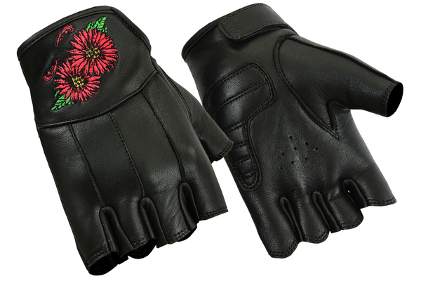 Wholesale Leather Gloves | DS36 Women's Embroidered Fingerless Glove