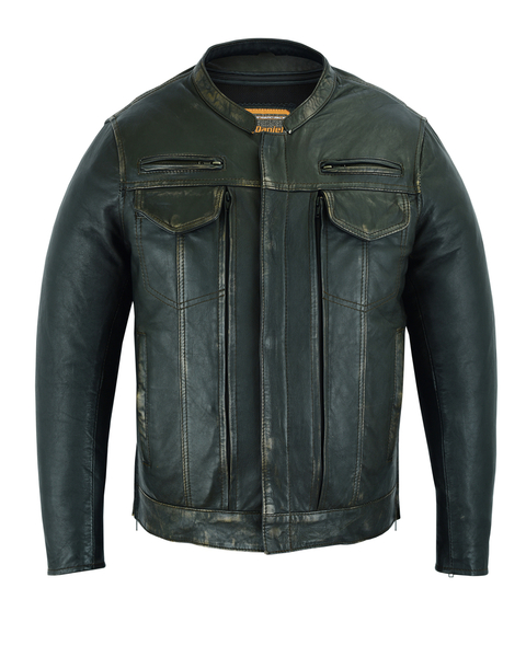 DS790 Men's Modern Utility Style Jacket in Lightweight Drum Dyed Distressed Nake | Men's Jackets