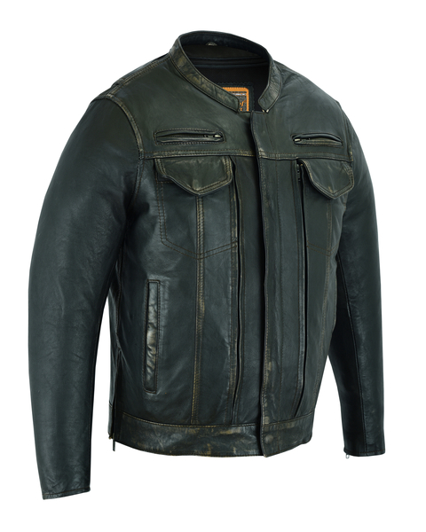 DS790 Men's Modern Utility Style Jacket in Lightweight Drum Dyed Distressed Nake | Men's Leather Jackets