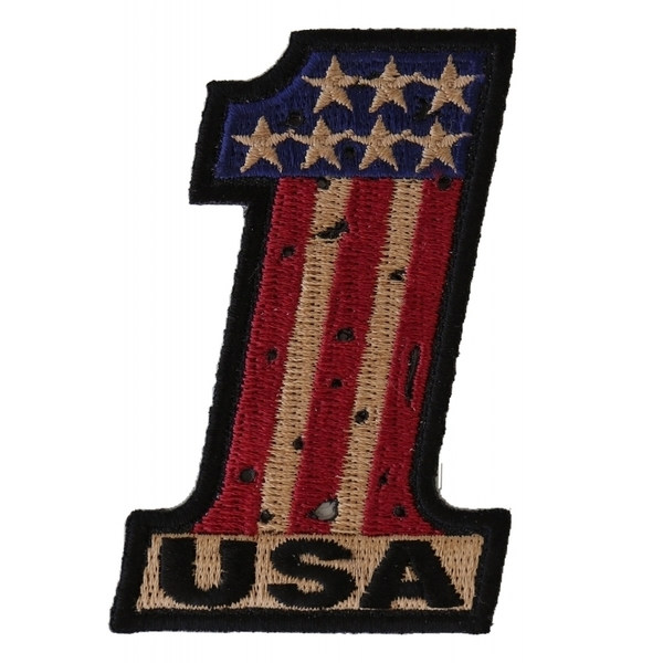 P3566 Number 1 USA Vintage Flag and Stars Patch | Patches
