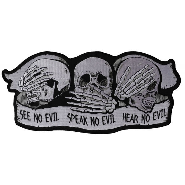 PL5928 See No Evil Speak No Evil Hear No Evil Skull Large Embroidered Iron on Pa | Patches
