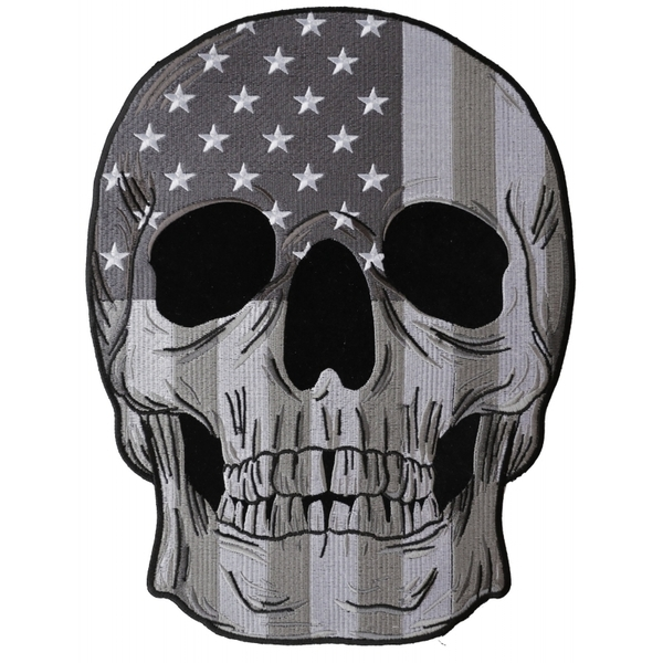 PL6031 Skull Subdued American Flag Embroidered Iron on Patch | Patches