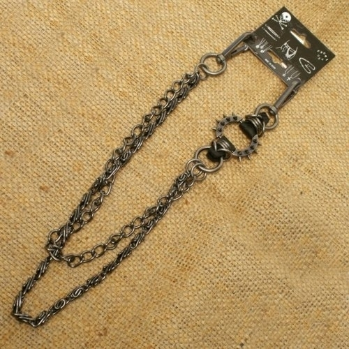 WA-WC7030 Spike ring Wallet Chain with gray double chain | Wallet Chains/Key Leash