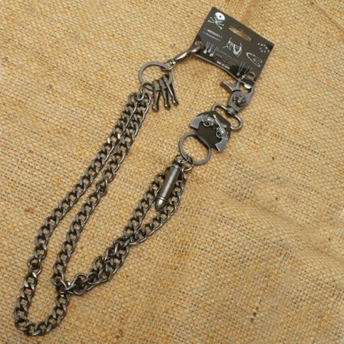 WA-WC7031 Wallet Chain with a skull / guns / bullet designs, double chain | Wallet Chains/Key Leash