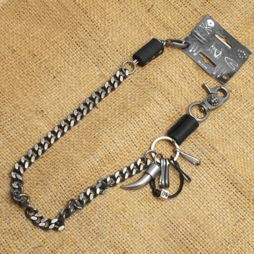 WA-WC7032 Wallet Chain with a skull / horn / leather designs, single chain | Wallet Chains/Key Leash