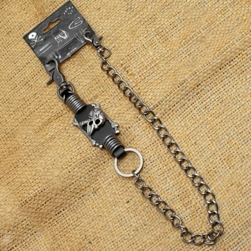 WA-WC7035 Wallet Chain with a skull metal rings and leather designs | Wallet Chains/Key Leash