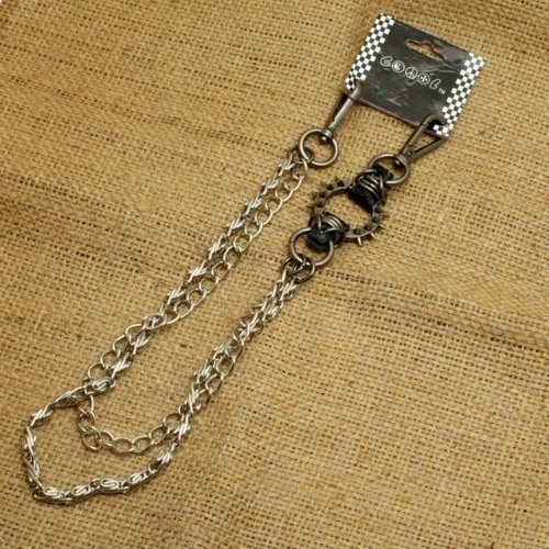 WA-WC7702W Spike ring Wallet Chain with chrome double chain, | Wallet Chains/Key Leash