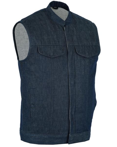 DM976 Men's Blue Rough Rub-Off Raw Finish Denim Vest | Men's Denim Vests