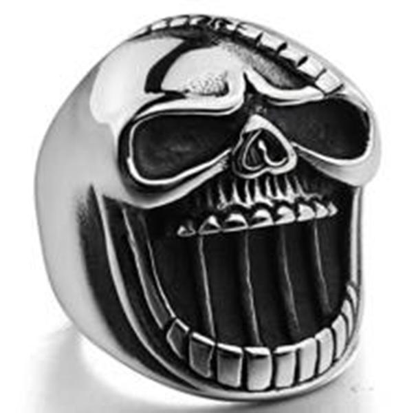 R101 Stainless Steel Big Face Skull Biker Ring | Rings