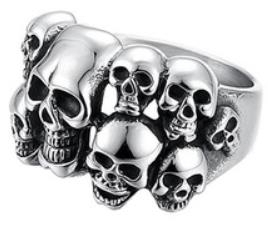 R102 Stainless Steel Multi-Skull Face Biker Ring | Rings