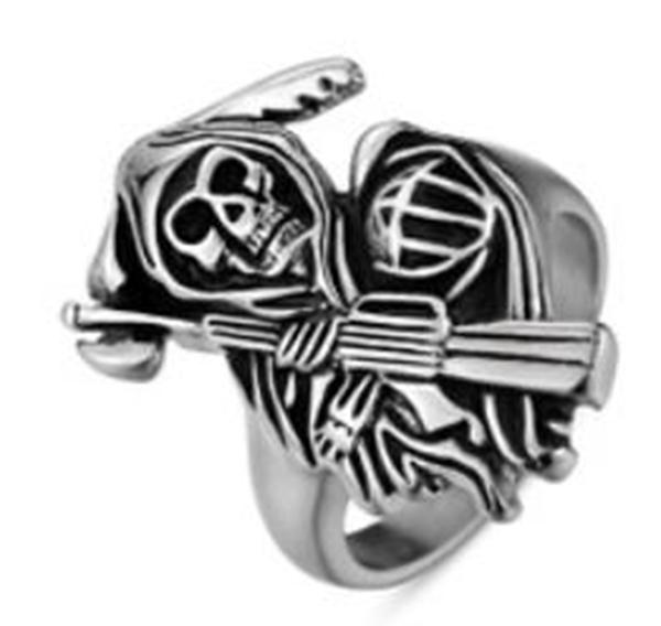 R103 Stainless Steel Reaper Biker Ring | Rings