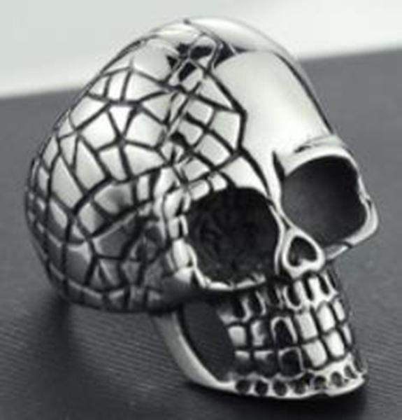 R109 Stainless Steel Cracked Skull Biker Ring | Rings