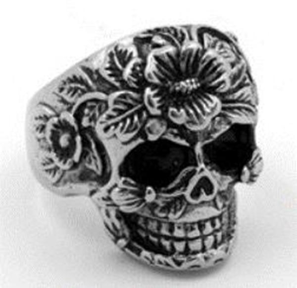 R111 Stainless Steel Flower Face Skull Biker Ring | Rings