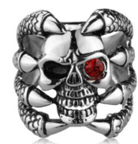 R112 Stainless Steel Claw Face Skull Biker Ring | Rings