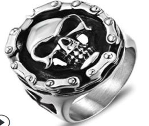 R113 Stainless Steel Biker Chain Skull Face Biker Ring | Rings
