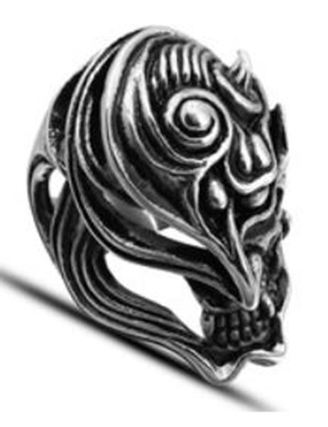R115 Stainless Steel Dragon Fire Skull Biker Ring | Rings