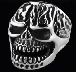 R122 Stainless Steel Fire Face Skull Biker Ring | Rings