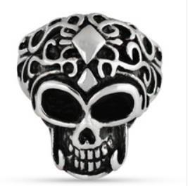 R127 Stainless Steel Big Brain Skull Biker Ring | Rings