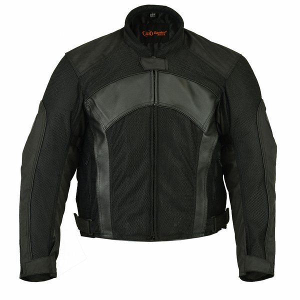 Wholesale Men's Motorcycle Jackets | DS750BK Men's Mesh/ Leather Padded Jacket