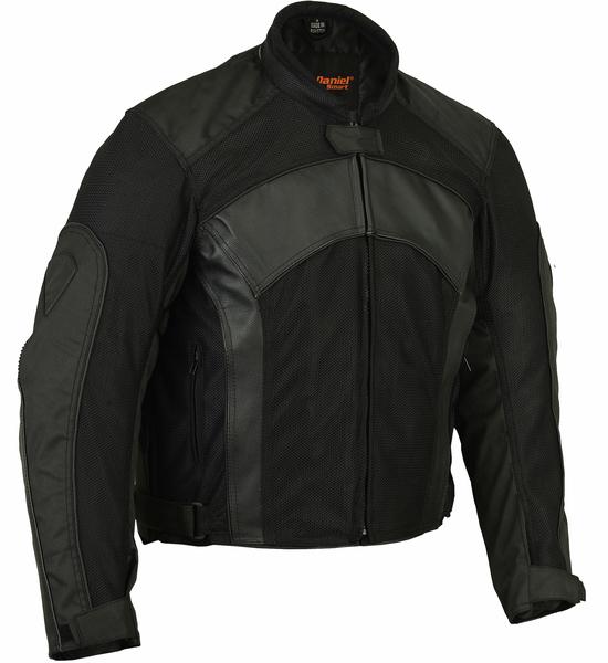 Wholesale Men's Motorcycle Jackets | DS750BK Men's Mesh/ Leather Padded Jacket